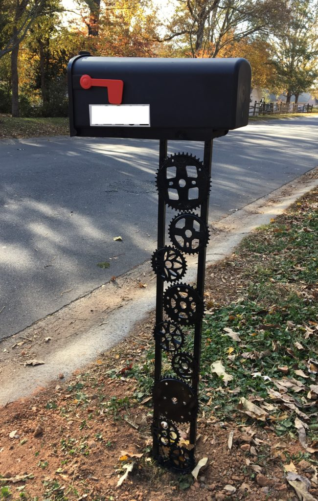 A DIY mailbox post made of bike parts is sure to be the envy of all the cyclists on your street.