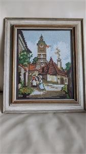 vintage needlepoint framed work