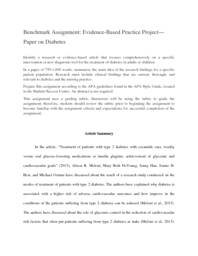 Benchmark Assignment Evidence Based Practice Project Paper