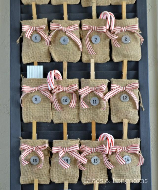 Burlap advent calendar shutter door upcycle lilacs and for Decorative burlap bags