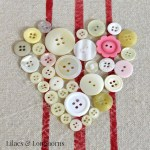 Old buttons and hot glue together are an easy Valentine's Day craft!