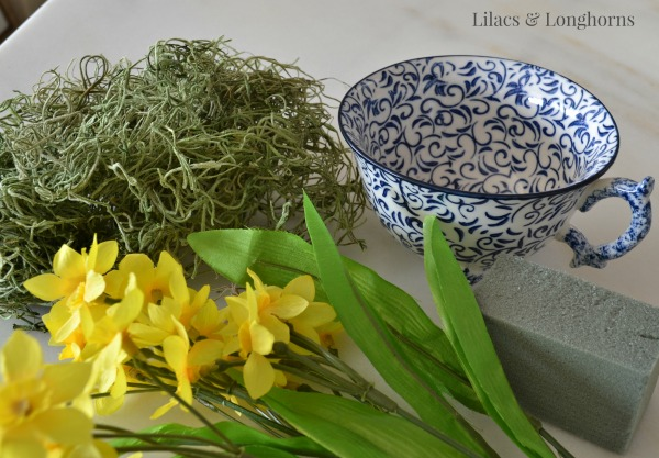 supplies to make daffodils in a tea cup