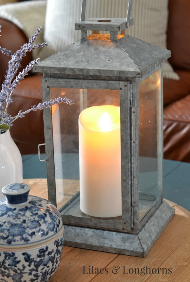 galvanized lantern with flameless candle
