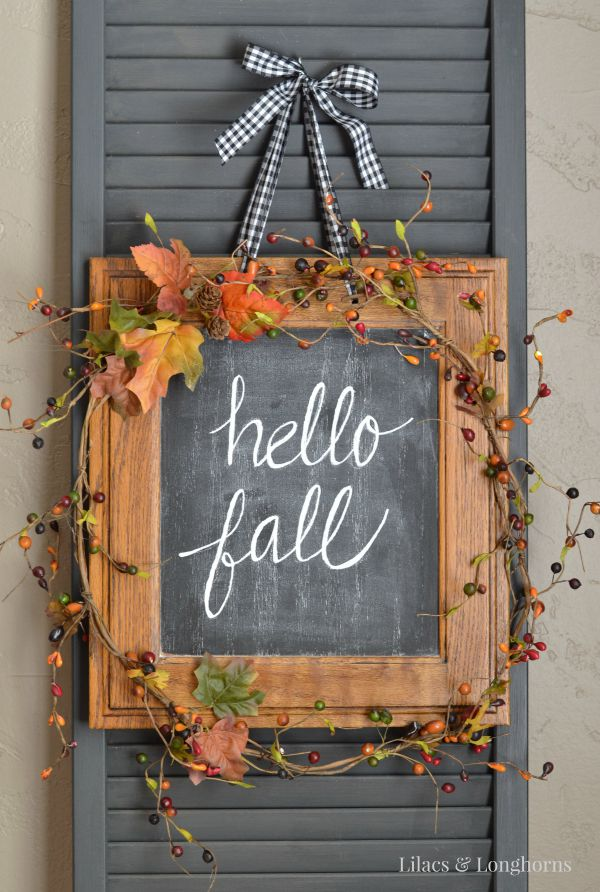 Repurposed DIY Cabinet Door Fall Chalkboard Decoration | Lilacs and Longhorns