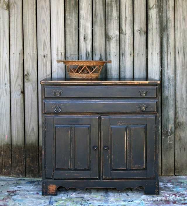 black furniture heavily distressed by Petticoat Junktion