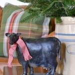 Christmas cow with scarf farmhouse style