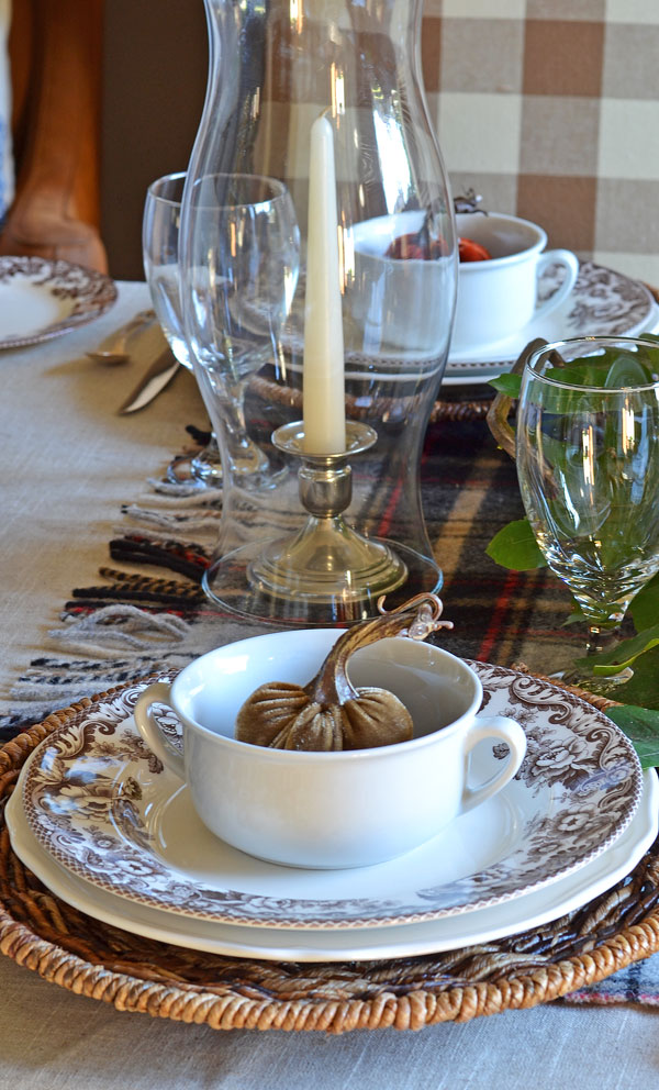 plaid-blanket-on-fall-tablescape-hurrican-candle