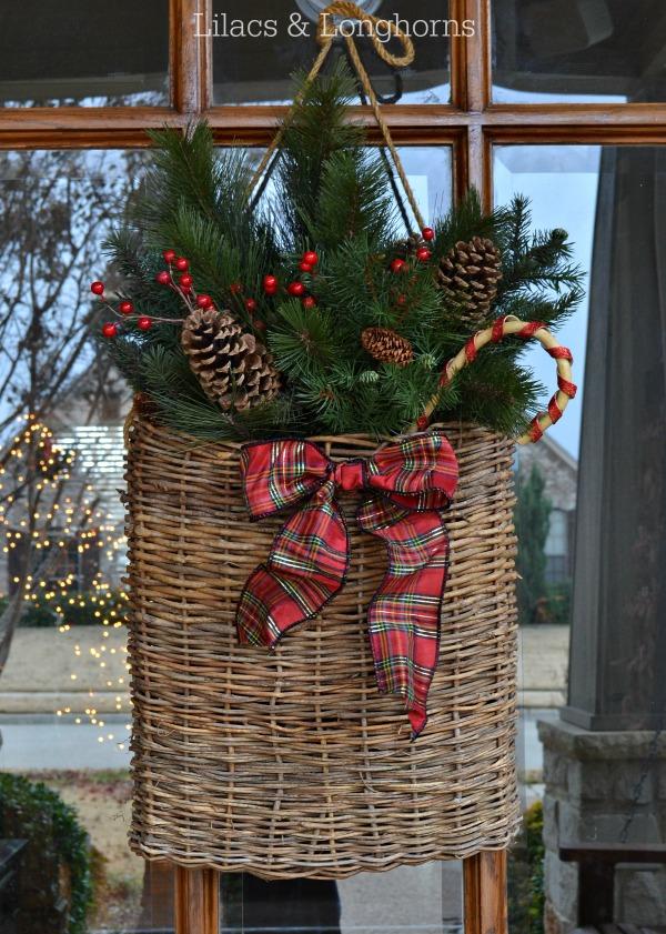 Christmas door decor basket