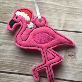 ITH Flamingo Santa Ornaments 4×4 and 5×7 grouped included- Embroidery Design – DIGITAL Embroidery DESIGN
