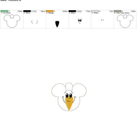 Mouse Snowman ornament 4×4