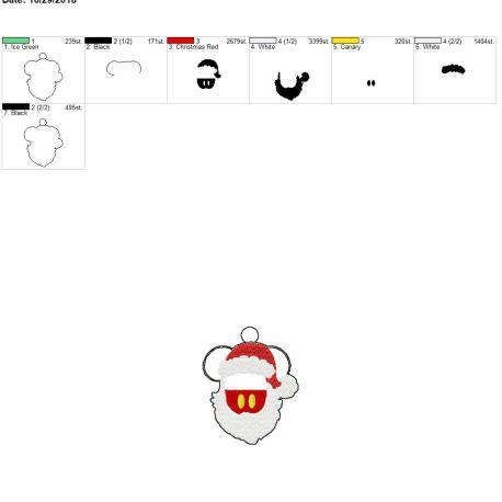 Santa mouse with beard eyelet 4×4
