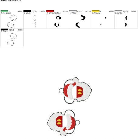 Santa mouse with beard eyelet 5×7 grouped