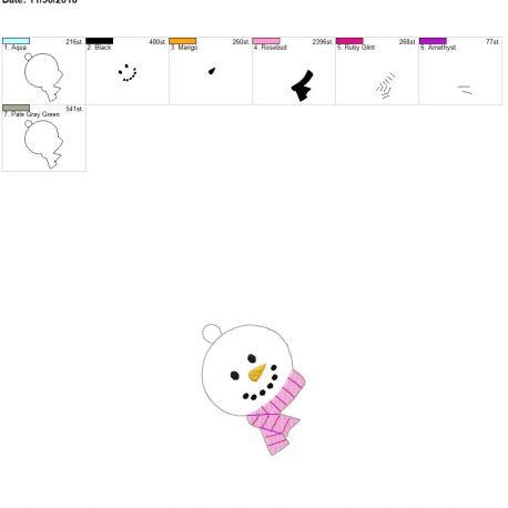 Snowman scarf ornament 4×4