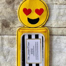 ITH Smiley Heart Eyes ID holder or Luggage tag 5×7 included- Embroidery Design – DIGITAL Embroidery design