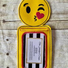 ITH Smiley Blowing Kiss ID holder or Luggage tag 5×7 included- Embroidery Design – DIGITAL Embroidery design