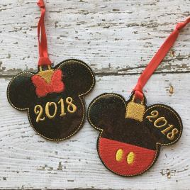 ITH Mouse Pair 2018 Ornaments 4×4 and 5×7 grouped included- Embroidery Design – DIGITAL Embroidery DESIGN