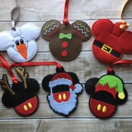 ITH Mouse Christmas Ornament Set of Six 4×4 and 5×7 grouped included- Embroidery Design – DIGITAL Embroidery DESIGN