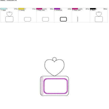 plain heart horizontal id holder 5×7