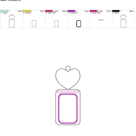 plain heart vertical id holder 5×7