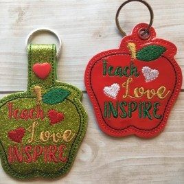 ITH Teach Love Inspire Snap Tab & Eyelet Fob 4×4 and 5×7 included- Embroidery Design – DIGITAL Embroidery DESIGN