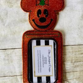 ITH Mouse Pumpkin ID Holder/luggage tag – 5 x 7 – Embroidery Design – DIGITAL Embroidery design