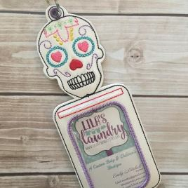 ITH Sugar Skull ID/luggage tag Holder – 5 x 7 – Embroidery Design – DIGITAL Embroidery design