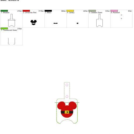 Santa Mouse Sanitizer holder snap tab 5×7