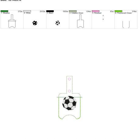 Soccer Sanitizer holder snap tab 5×7