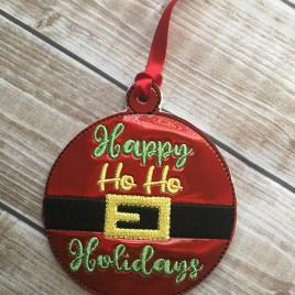 ITH Happy Ho Ho Holidays Ornament 4×4 and 5×7 included- Embroidery Design – DIGITAL Embroidery DESIGN