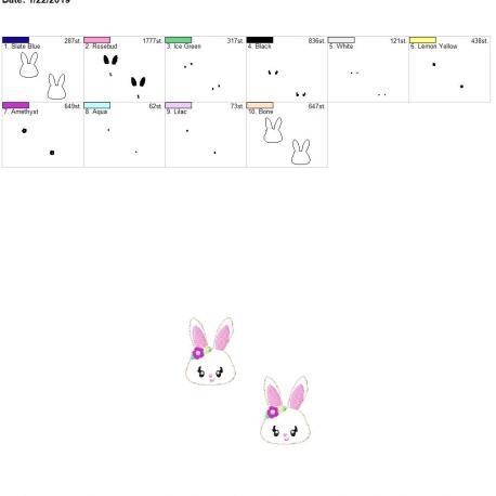 Bunny 2inch feltie 4×4 grouped