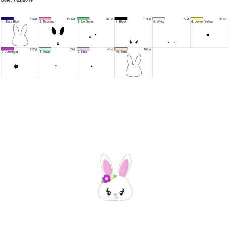 Bunny 3inch feltie 4×4