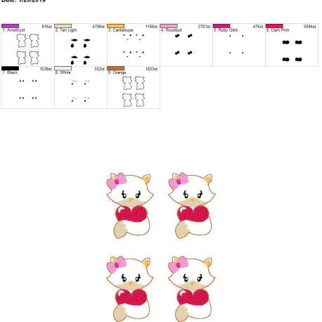 Valentine Girl Fox 3inch feltie 5×7 grouped