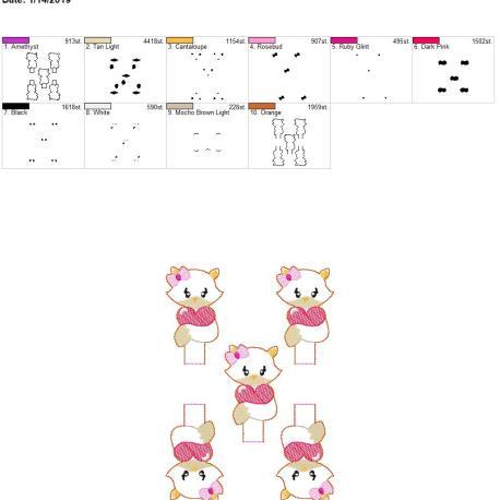 Valentine Girl Fox pencil topper 5×7 grouped