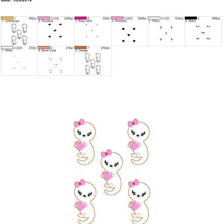 Valentine Girl Otter 3inch feltie 5×7 grouped