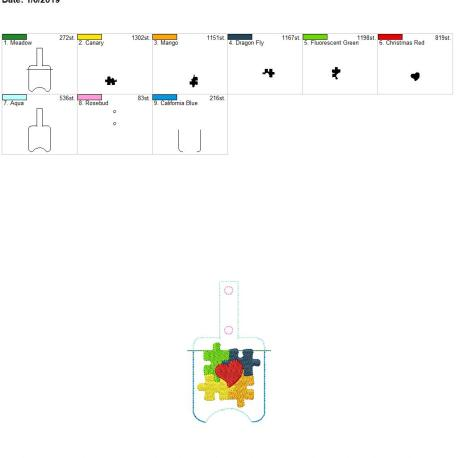 autism awareness sanitizer holder snap tab 5×7