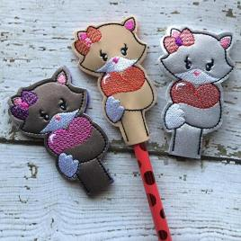 ITH Valentine Girl Fox Pencil Topper 4×4 and 5×7 included- Embroidery Design – DIGITAL Embroidery DESIGN