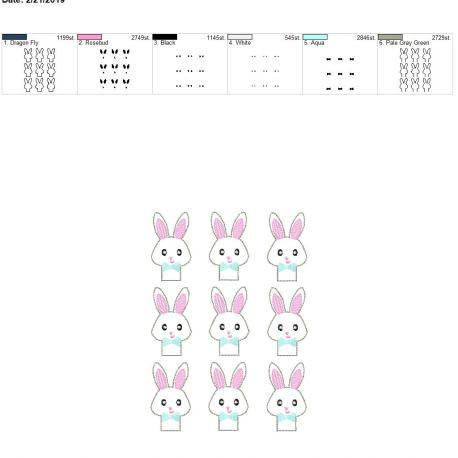Bunny boy pencil topper 5×7 grouped