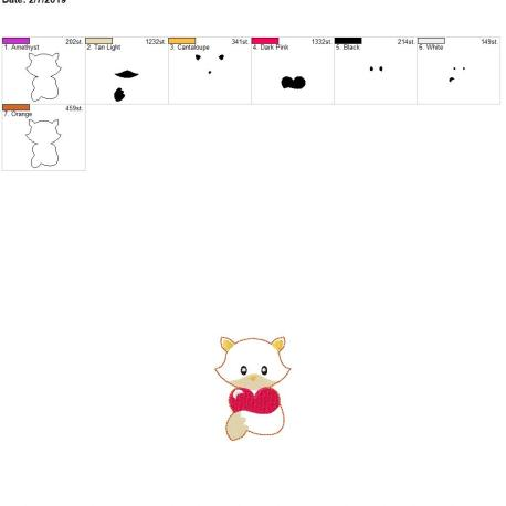 Valentine Boy Fox 3inch feltie 4×4