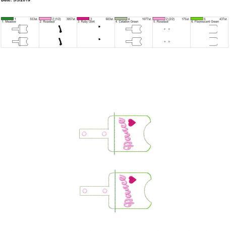 Dance Sanitizer holder snap tab 5×7 grouped