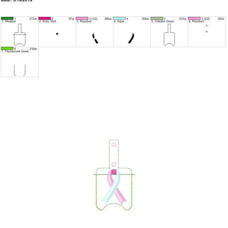 Dual color awareness ribbon Sanitizer holder snap tab 5×7