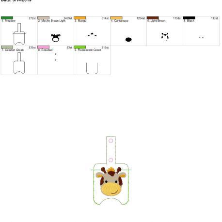 boy giraffe Sanitizer holder snap tab 5×7