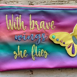 ITH – 3D Butterfly Brave Wings Zipper Bag 4×4, 5×7 and 6×10 – Digital Embroidery Design