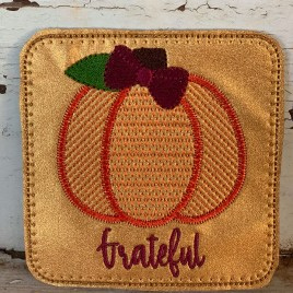 ITH Fall Pumpkin Coaster Set 4×4 – DIGITAL Embroidery DESIGN