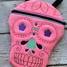 ITH – Sugar Skull Zipper Bag – 3 sizes – Digital Embroidery Design