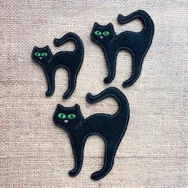 ITH -Black Cat Felties – 3 sizes- Digital Embroidery Design
