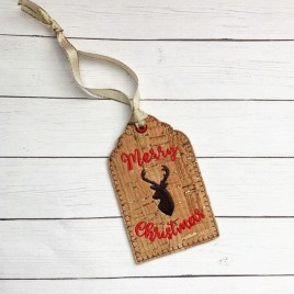 ITH – Merry Christmas Deer Gift Tag Feltie – Digital Embroidery Design