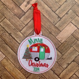 ITH – Merry Christmas Camper 2019 Ornament 4×4 and 5×7 grouped – Digital Embroidery Design