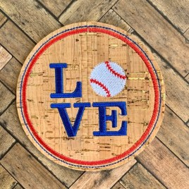 ITH Love Baseball Coaster 4×4 – DIGITAL Embroidery DESIGN