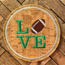 ITH Love Football Coaster 4×4 – DIGITAL Embroidery DESIGN