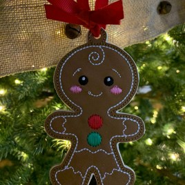 ITH – Gingerbread Family Set #2 Ornament 4×4 and 5×7 grouped – Digital Embroidery Design